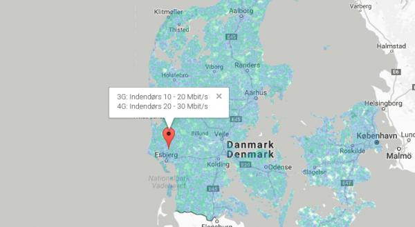 kort til mobildækning i danmark